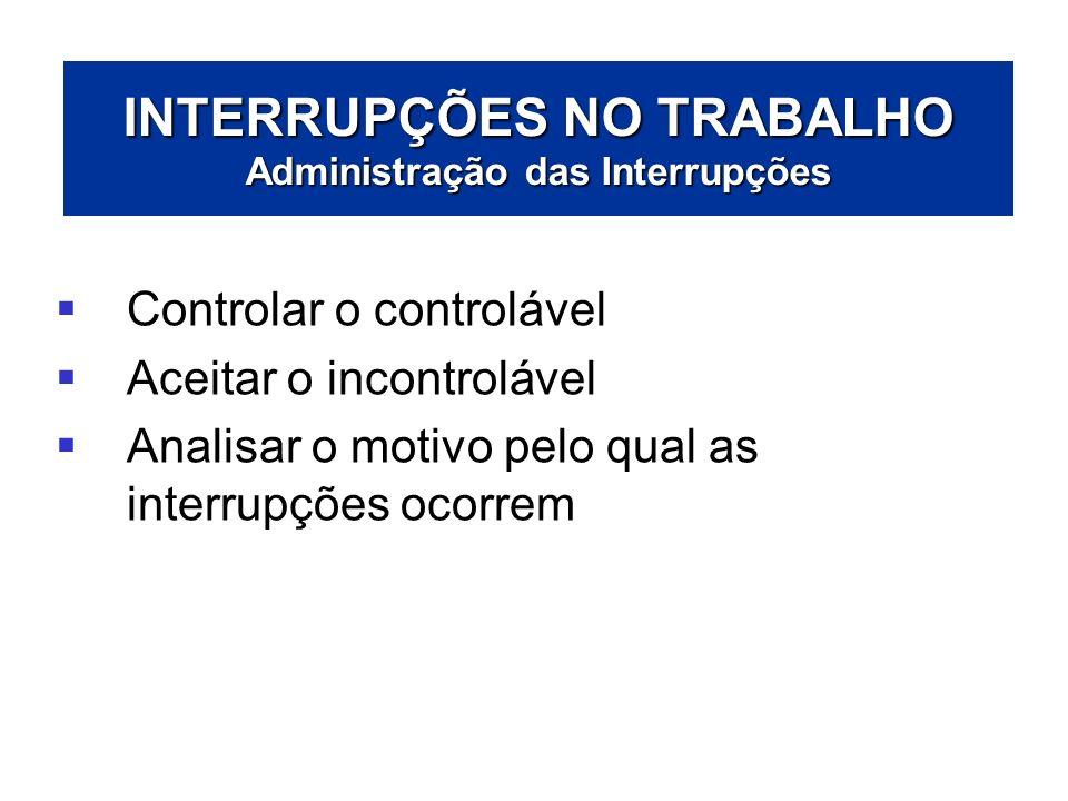 INTERRUPÇÕES NO TRABALHO Administração das Interrupções