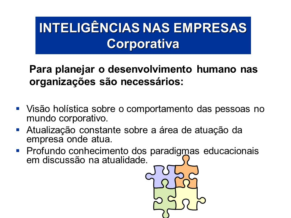 INTELIGÊNCIAS NAS EMPRESAS Corporativa