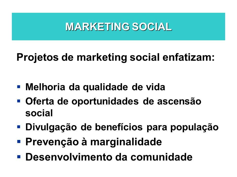 Projetos de marketing social enfatizam: