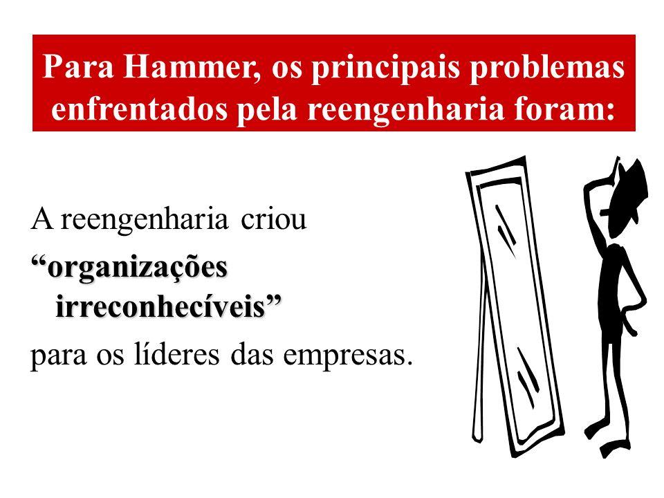 Para Hammer, os principais problemas enfrentados pela reengenharia foram: