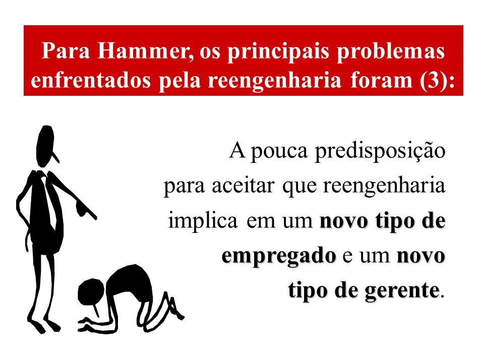 Para Hammer, os principais problemas enfrentados pela reengenharia foram (3):