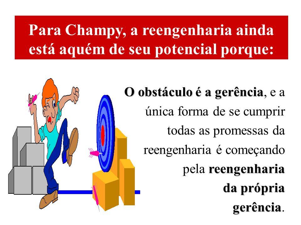 Para Champy, a reengenharia ainda está aquém de seu potencial porque: