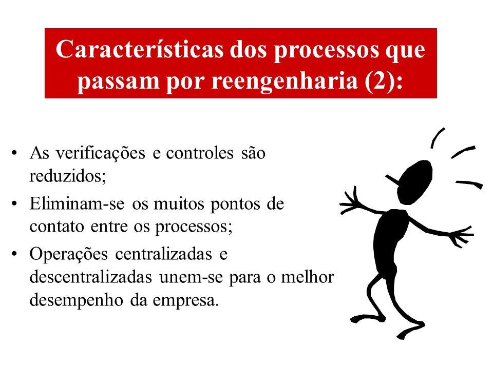 Características dos processos que passam por reengenharia (2):