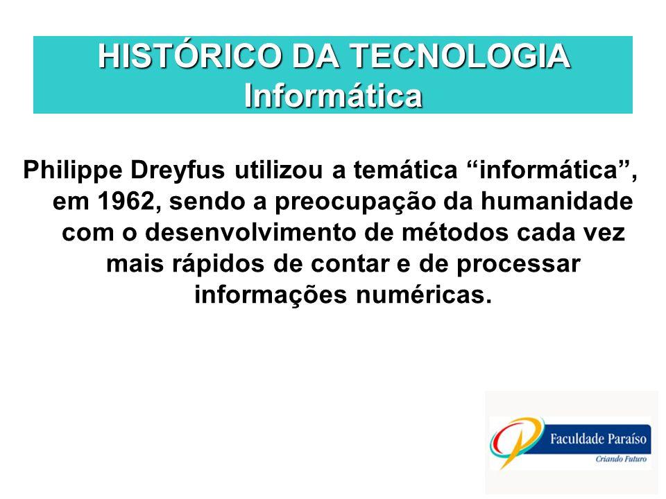HISTÓRICO DA TECNOLOGIA Informática