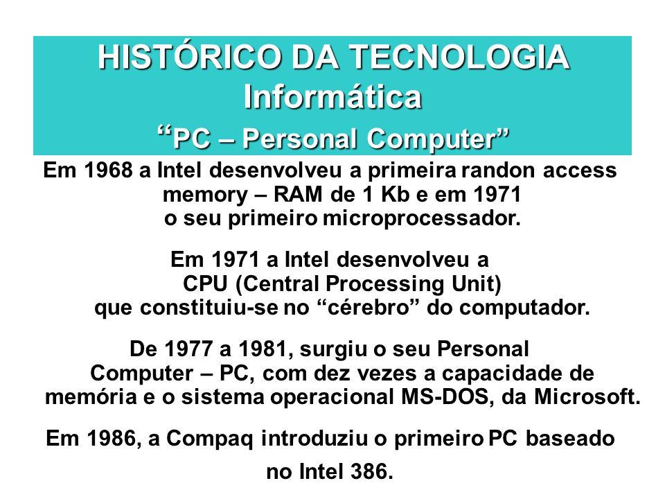 HISTÓRICO DA TECNOLOGIA Informática PC – Personal Computer