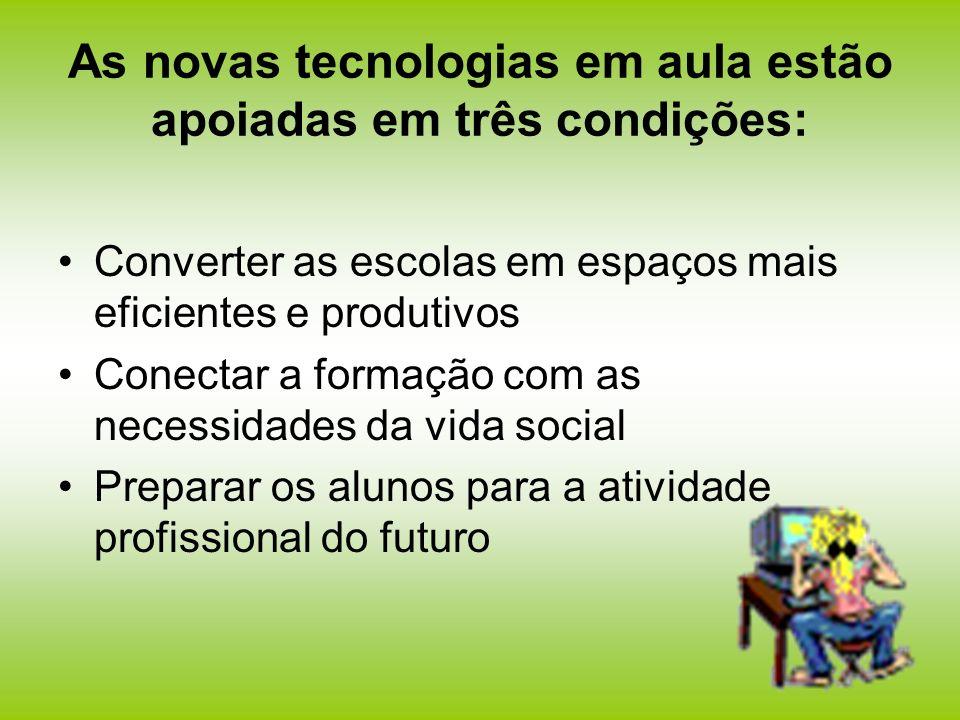 As novas tecnologias em aula estão apoiadas em três condições: