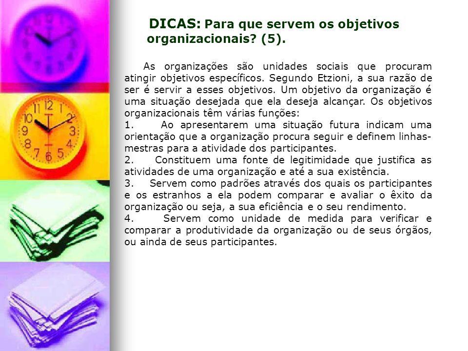 DICAS: Para que servem os objetivos organizacionais (5).