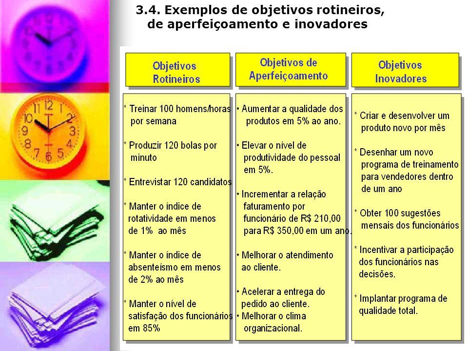 3.4. Exemplos de objetivos rotineiros,