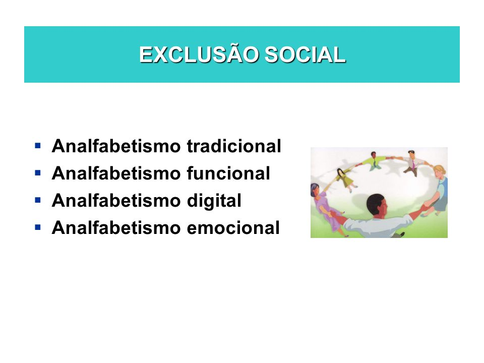 EXCLUSÃO SOCIAL Analfabetismo tradicional Analfabetismo funcional