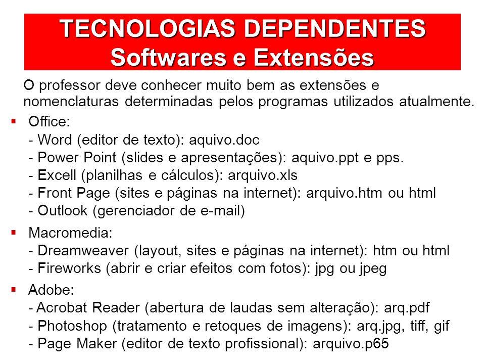TECNOLOGIAS DEPENDENTES Softwares e Extensões