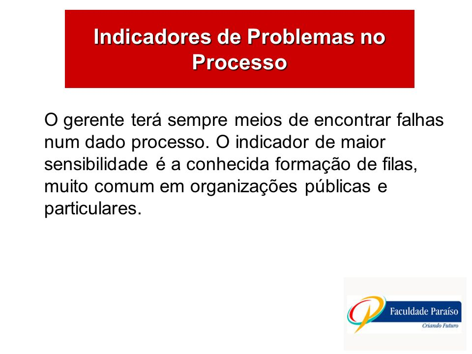 Indicadores de Problemas no Processo