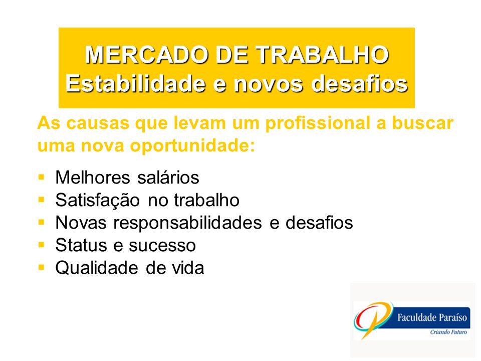 MERCADO DE TRABALHO Estabilidade e novos desafios