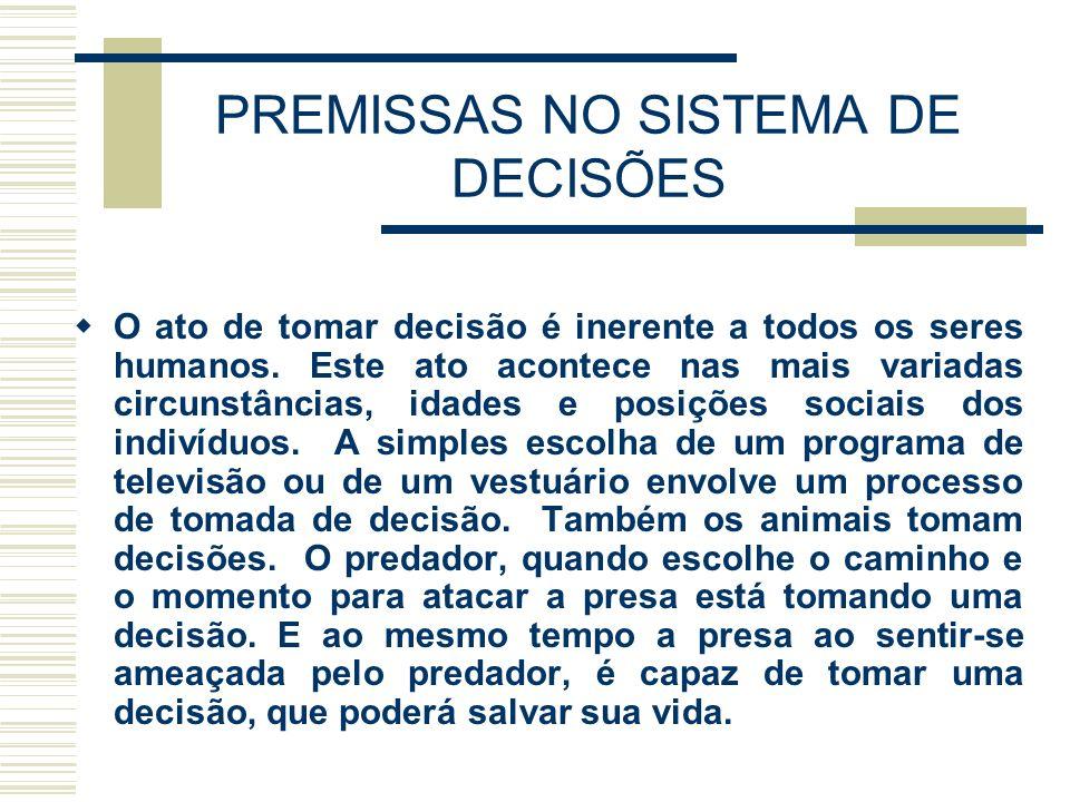 PREMISSAS NO SISTEMA DE DECISÕES