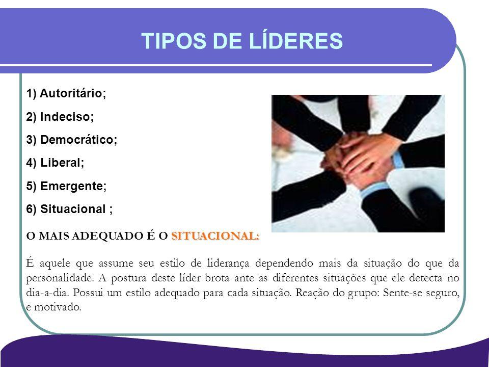 TIPOS DE LÍDERES 1) Autoritário; 2) Indeciso; 3) Democrático;