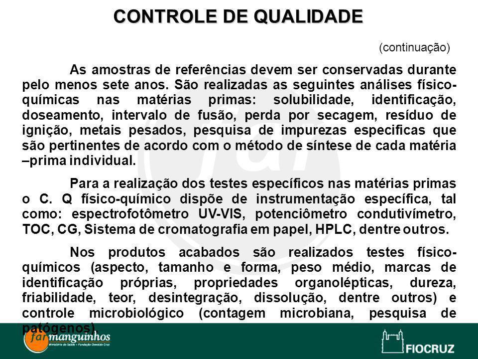 CONTROLE DE QUALIDADE(continuação)