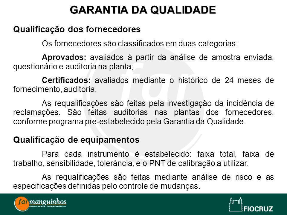 GARANTIA DA QUALIDADE Qualificação dos fornecedores