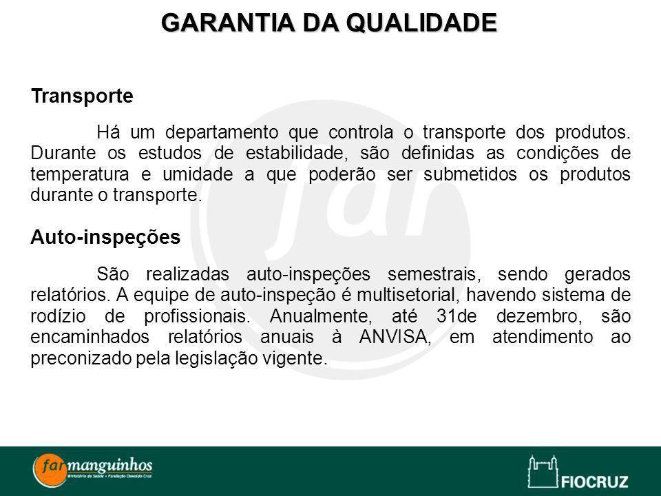 GARANTIA DA QUALIDADE Transporte Auto-inspeções