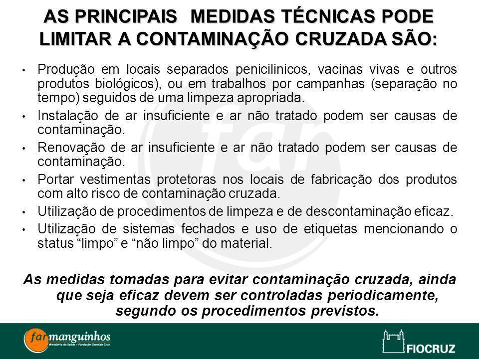 AS PRINCIPAIS MEDIDAS TÉCNICAS PODE LIMITAR A CONTAMINAÇÃO CRUZADA SÃO: