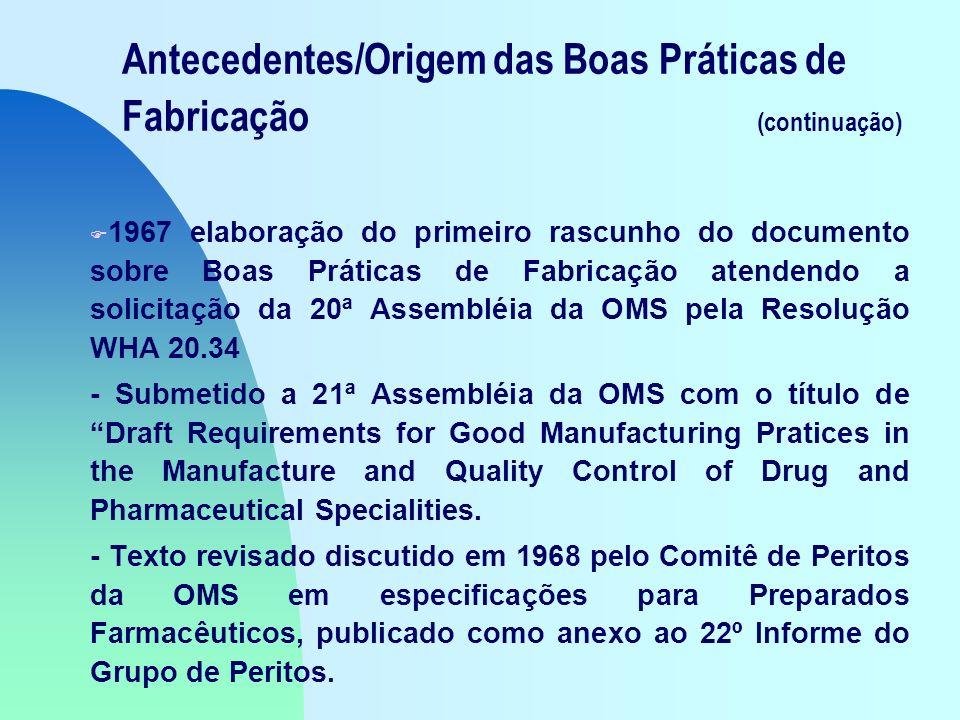 Antecedentes/Origem das Boas Práticas de Fabricação (continuação)