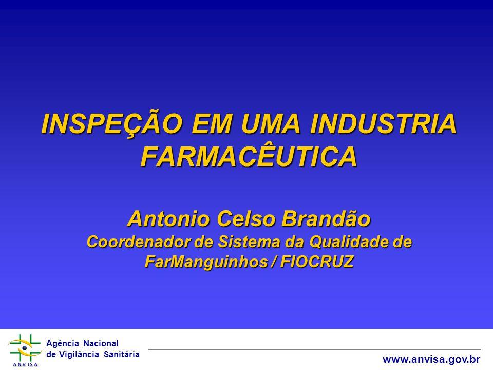 INSPEÇÃO EM UMA INDUSTRIA FARMACÊUTICA Antonio Celso Brandão Coordenador de Sistema da Qualidade de FarManguinhos / FIOCRUZ