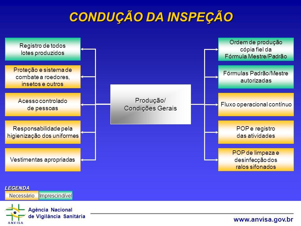 CONDUÇÃO DA INSPEÇÃO Produção/ Condições Gerais Acesso controlado