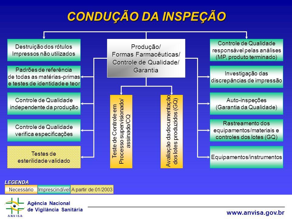 CONDUÇÃO DA INSPEÇÃO Produção/ Formas Farmacêuticas/