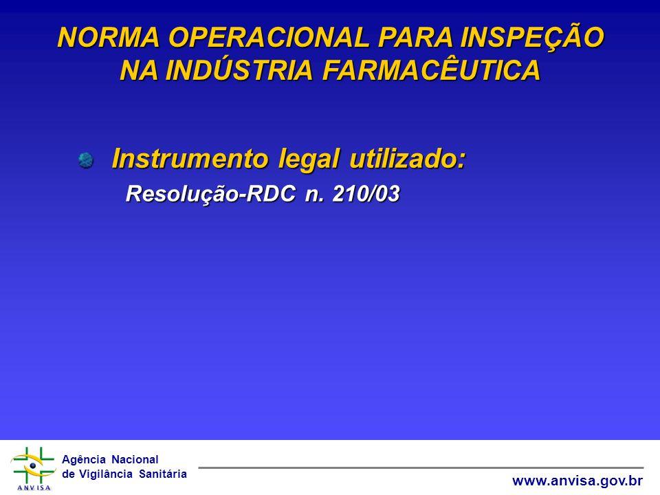 NORMA OPERACIONAL PARA INSPEÇÃO NA INDÚSTRIA FARMACÊUTICA