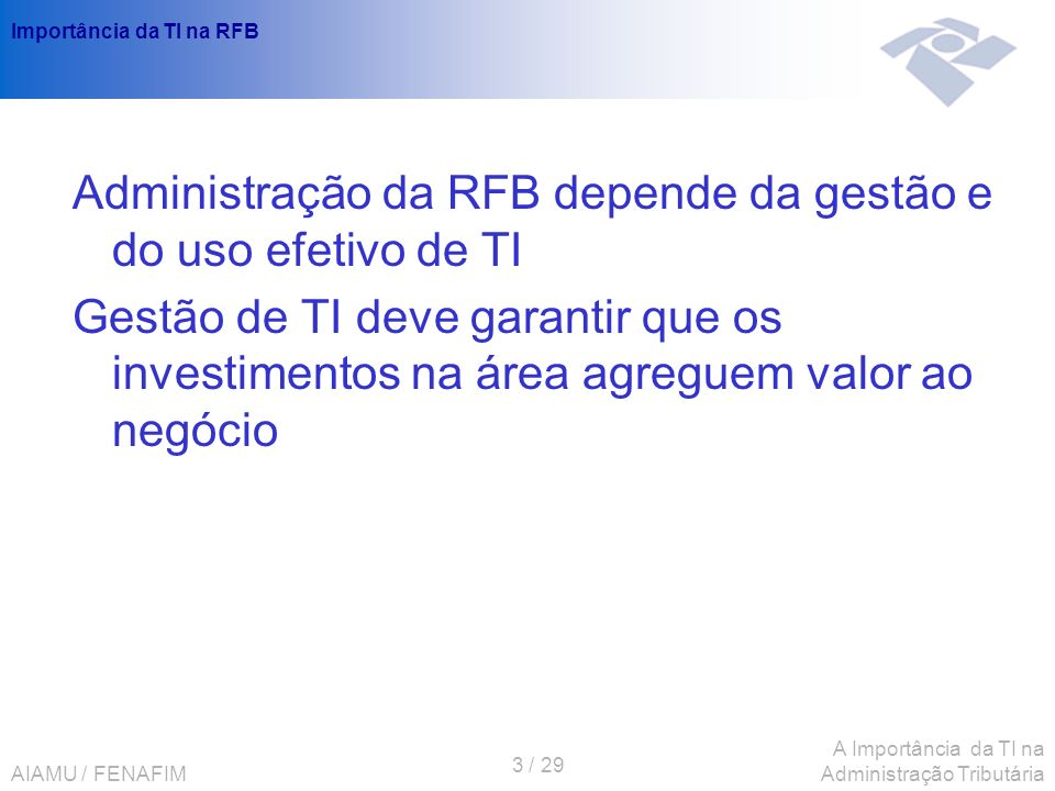 Importância da TI na RFB