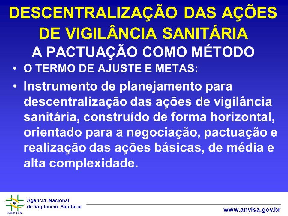 DESCENTRALIZAÇÃO DAS AÇÕES DE VIGILÂNCIA SANITÁRIA A PACTUAÇÃO COMO MÉTODO
