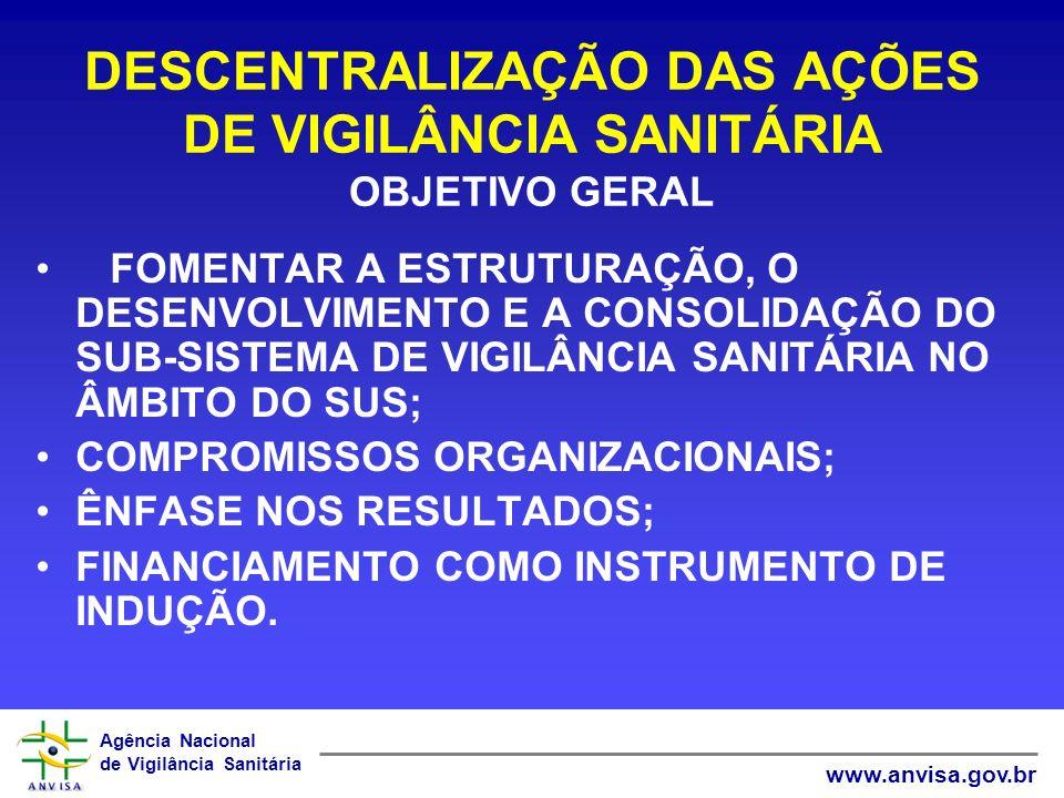 DESCENTRALIZAÇÃO DAS AÇÕES DE VIGILÂNCIA SANITÁRIA OBJETIVO GERAL