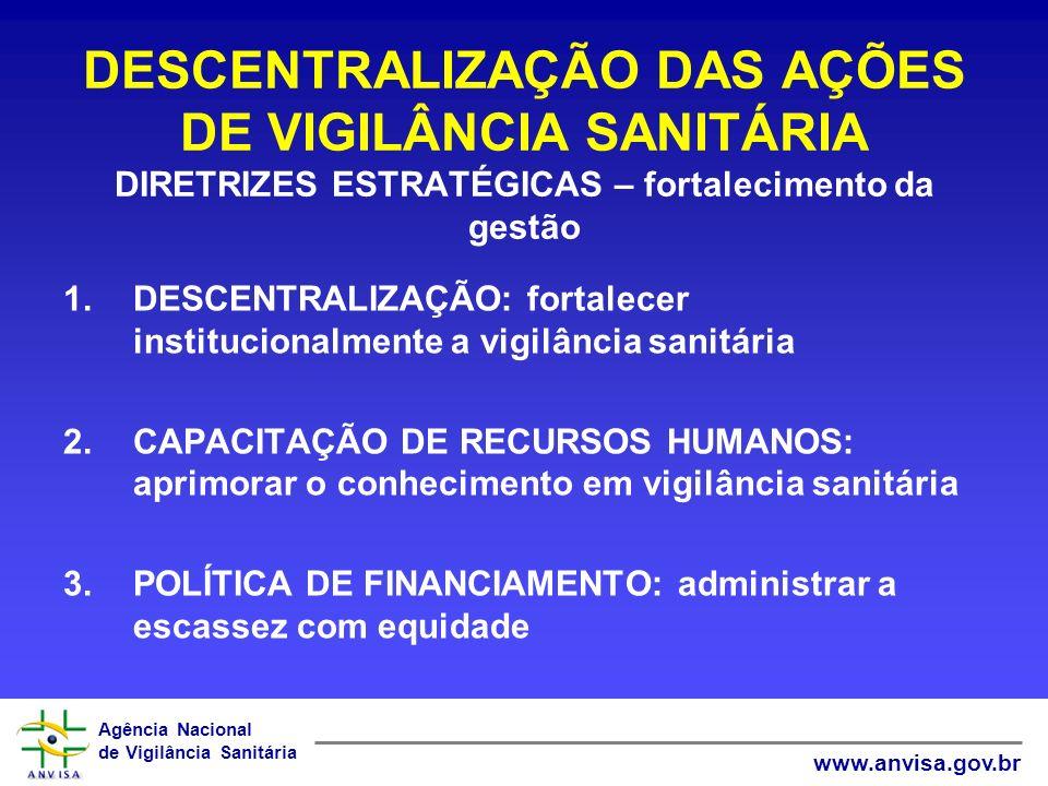 DESCENTRALIZAÇÃO DAS AÇÕES DE VIGILÂNCIA SANITÁRIA DIRETRIZES ESTRATÉGICAS – fortalecimento da gestão