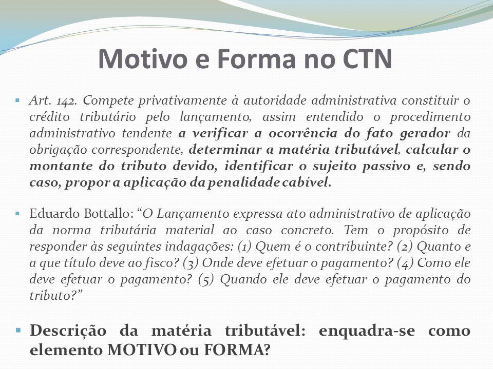 Motivo e Forma no CTN