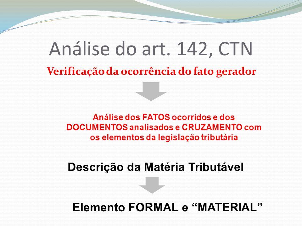 Análise do art. 142, CTN Descrição da Matéria Tributável