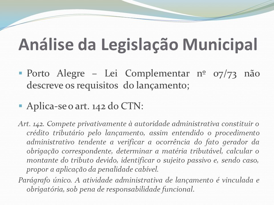 Análise da Legislação Municipal