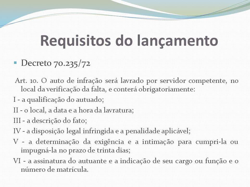 Requisitos do lançamento