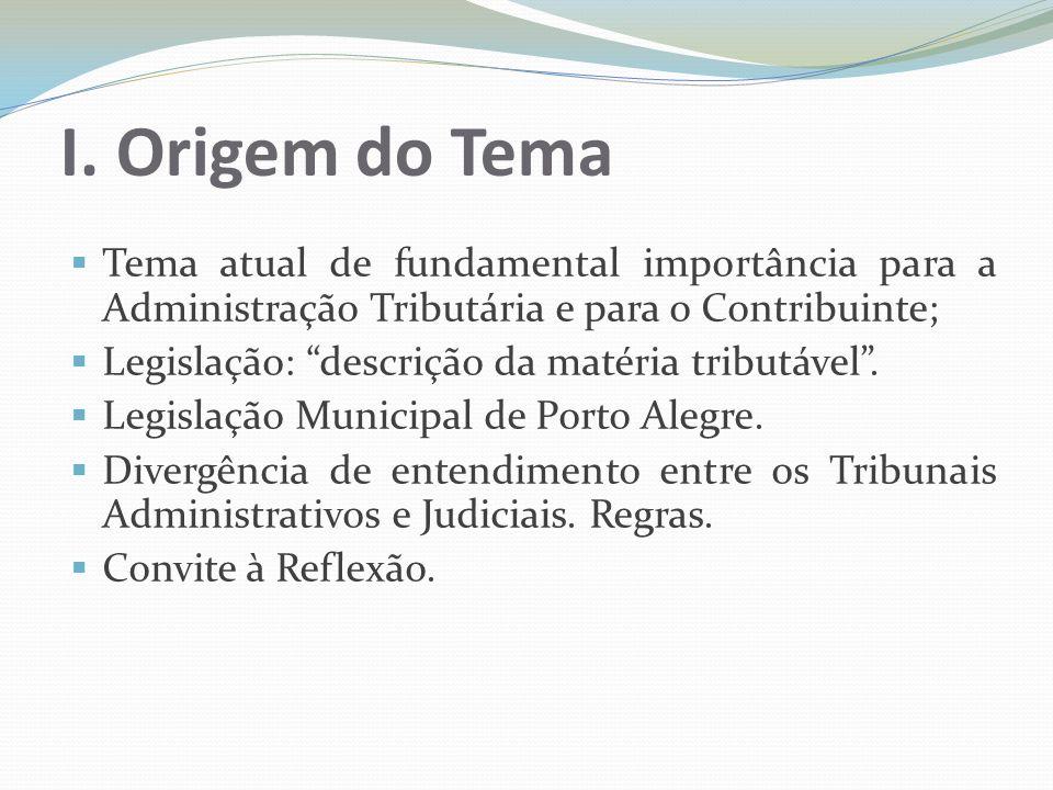 I. Origem do TemaTema atual de fundamental importância para a Administração Tributária e para o Contribuinte;