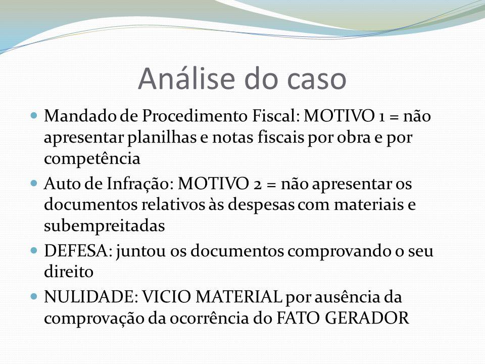 Análise do casoMandado de Procedimento Fiscal: MOTIVO 1 = não apresentar planilhas e notas fiscais por obra e por competência.