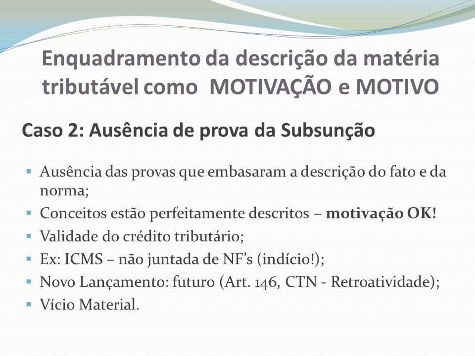 Enquadramento da descrição da matéria tributável como MOTIVAÇÃO e MOTIVO