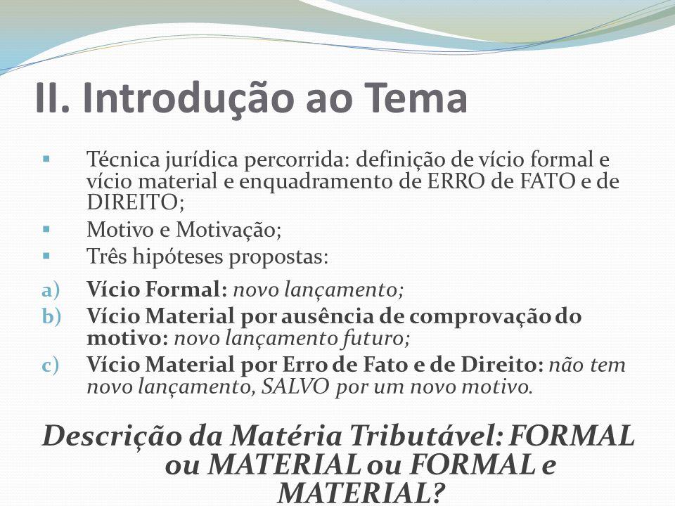 II. Introdução ao TemaTécnica jurídica percorrida: definição de vício formal e vício material e enquadramento de ERRO de FATO e de DIREITO;