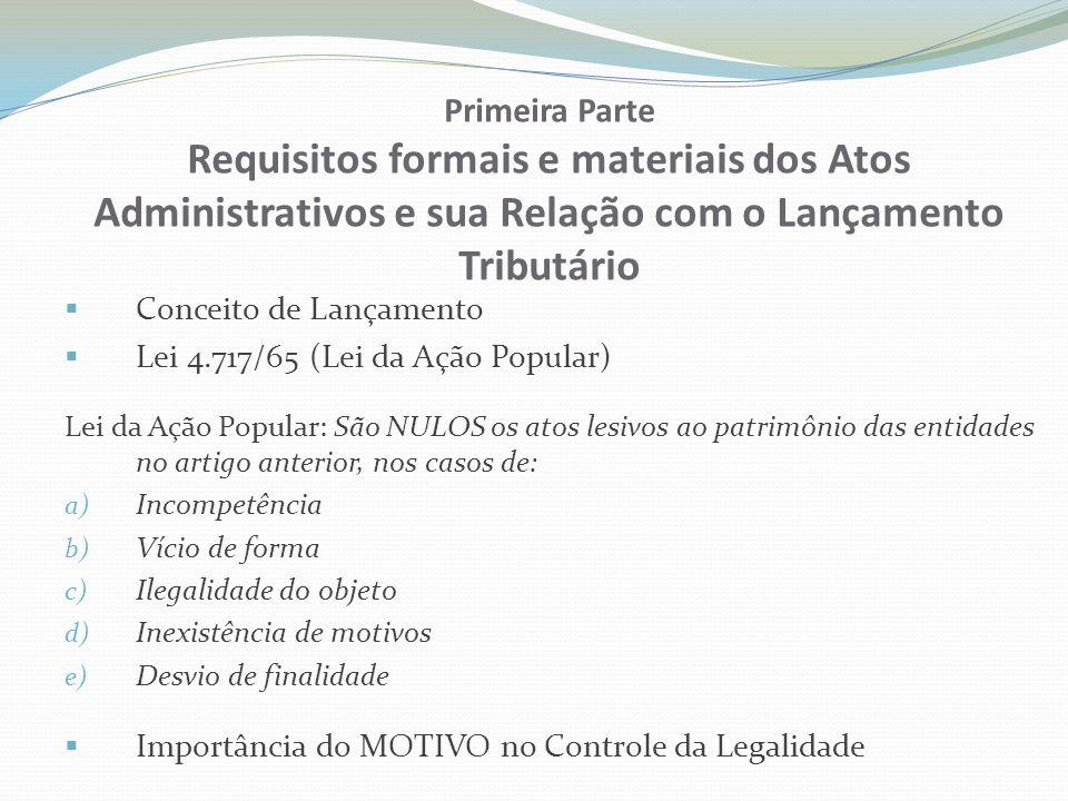 Primeira Parte Requisitos formais e materiais dos Atos Administrativos e sua Relação com o Lançamento Tributário