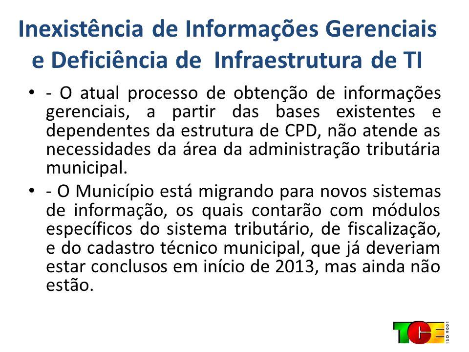 Inexistência de Informações Gerenciais e Deficiência de Infraestrutura de TI
