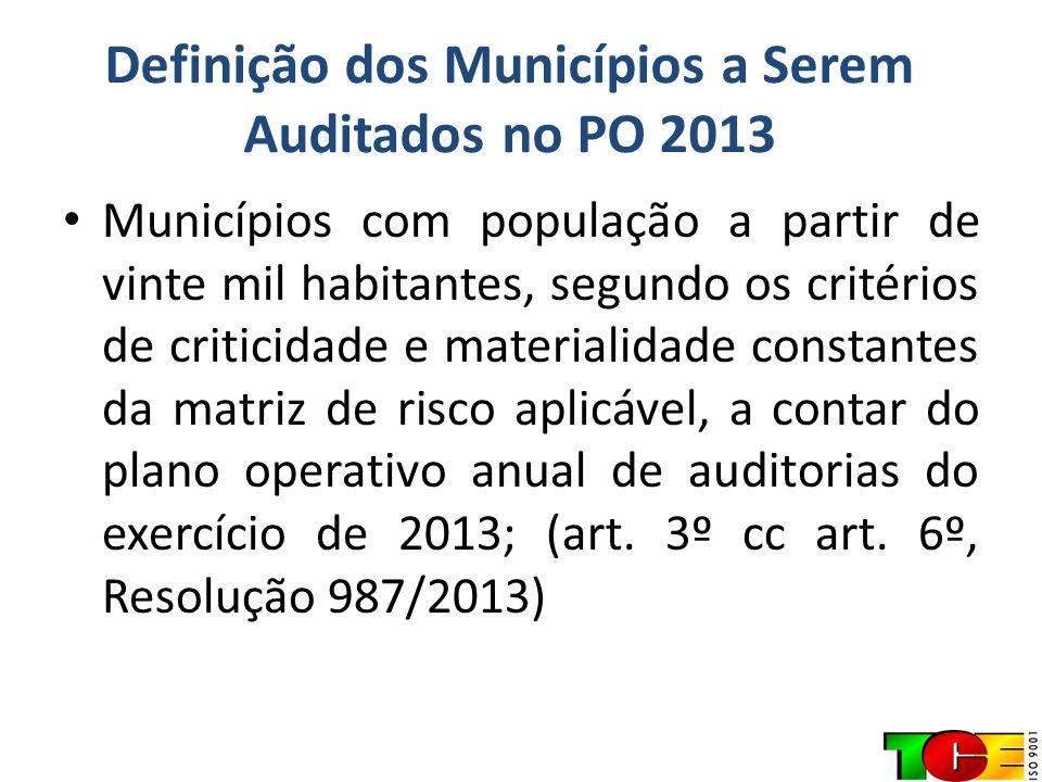 Definição dos Municípios a Serem Auditados no PO 2013