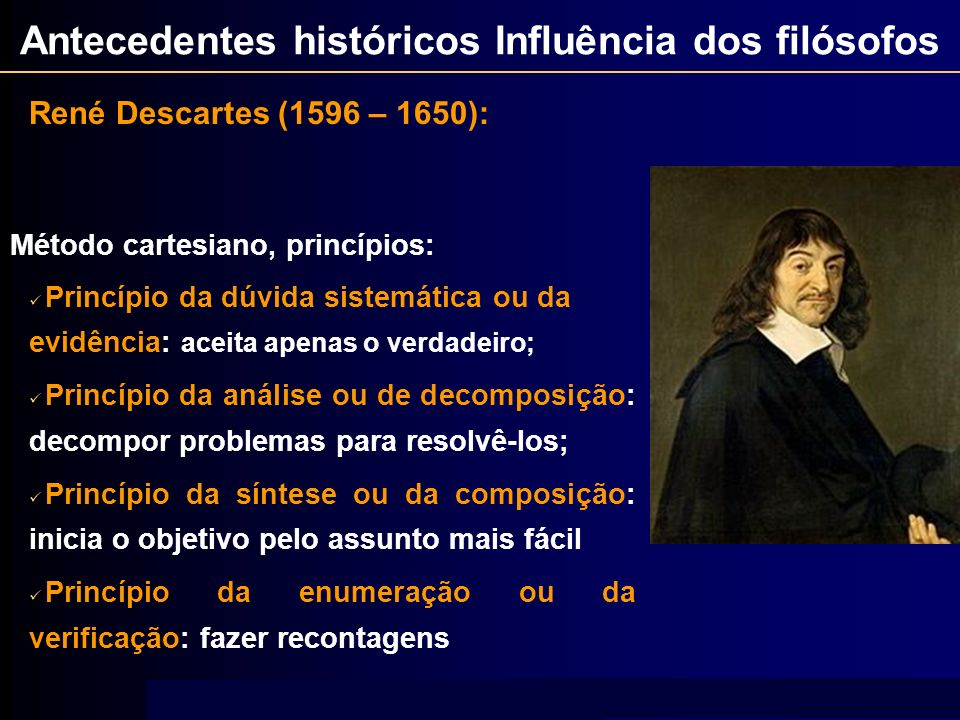 Antecedentes históricos Influência dos filósofos