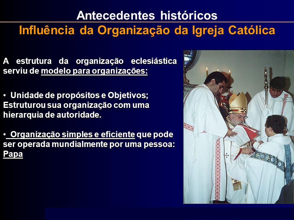 Antecedentes históricos Influência da Organização da Igreja Católica