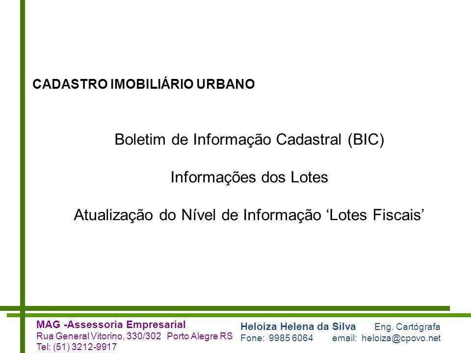 Boletim de Informação Cadastral (BIC) Informações dos Lotes
