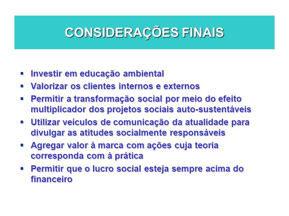 CONSIDERAÇÕES FINAIS Investir em educação ambiental