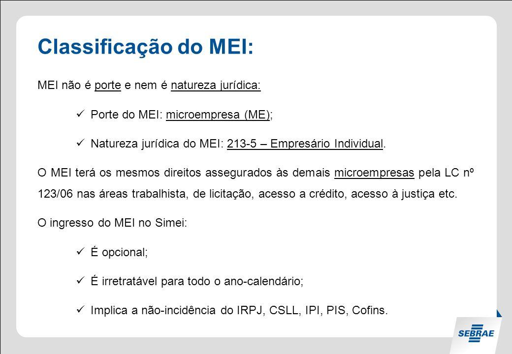 Classificação do MEI: MEI não é porte e nem é natureza jurídica: