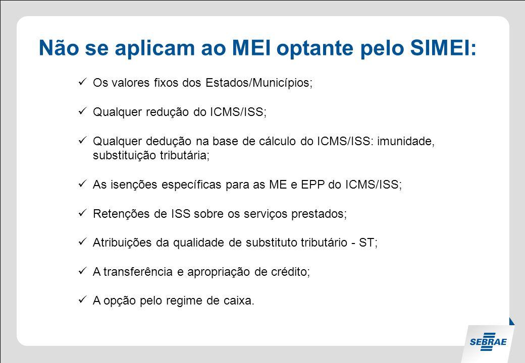 Não se aplicam ao MEI optante pelo SIMEI: