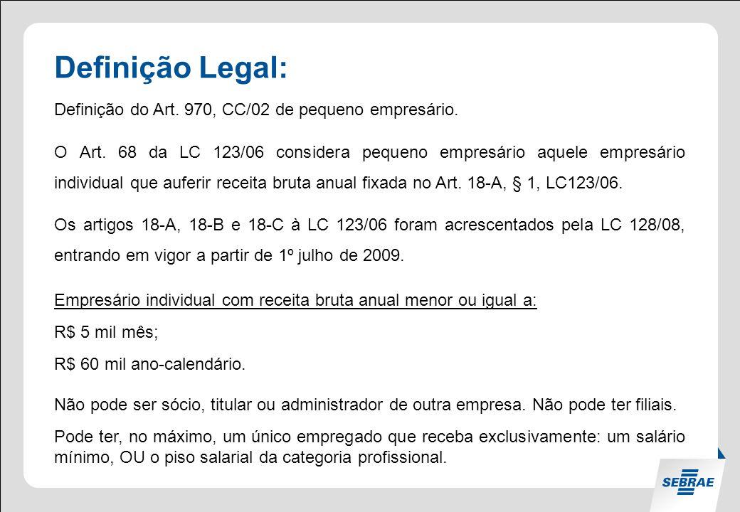 Definição Legal: Definição do Art. 970, CC/02 de pequeno empresário.