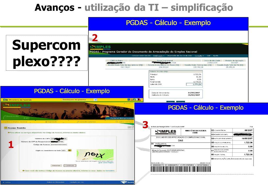 Avanços - utilização da TI – simplificação